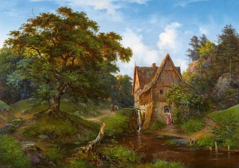 Ernst Ferdinand Oehme - Mühle im Eichtal