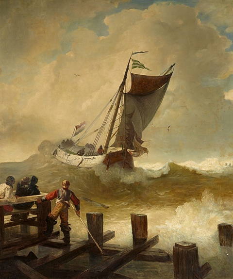 Andreas Achenbach - A Fishing Boat on Rough Seas