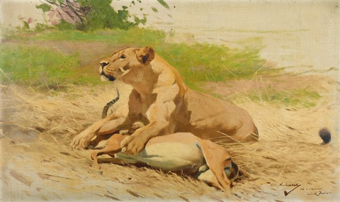 Wilhelm Kuhnert - Lioness with a Gazelle