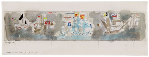 "Lyonel Feininger - Design for Mural ""SS Constitution"". Verso: Segelschiffe und Kreuzer."