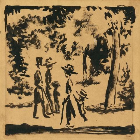August Macke - Spaziergänger im Park (Spaziergänger mit Kind im Park)