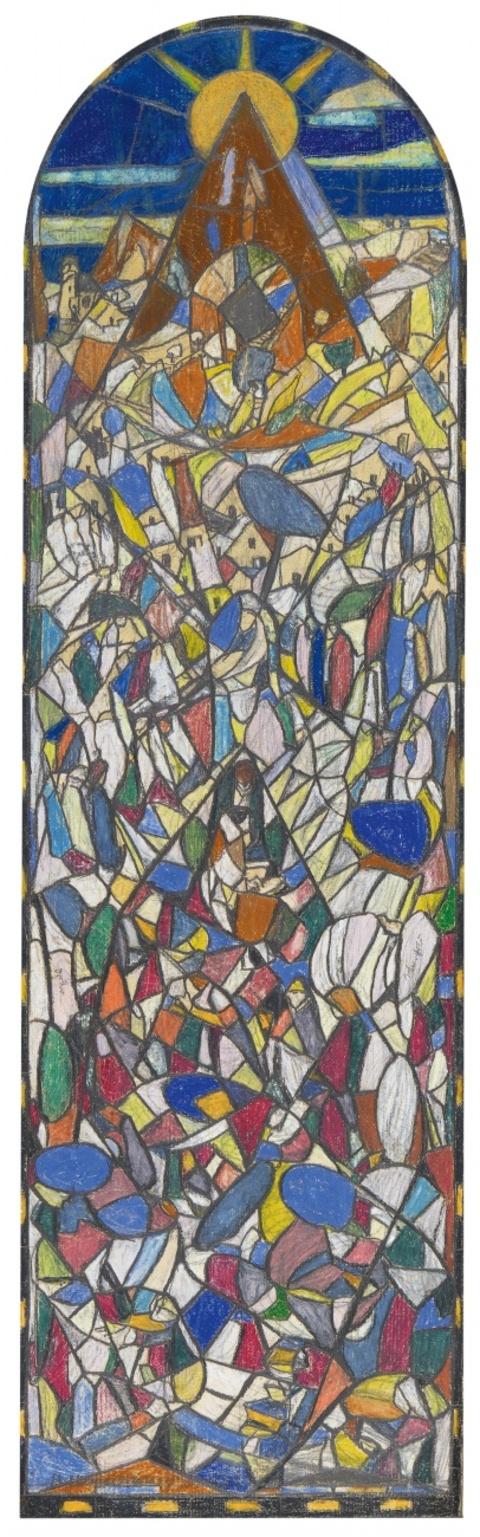 Adolf Hölzel - Entwurf für das Glasfenster im Bibliothekszimmer Dr. Fulda, Lauta-Werk, Lauta/Lausitz