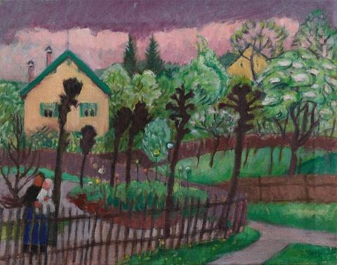 Gabriele Münter - Garten mit zwei gelben Häusern (Sommerlicher Garten)