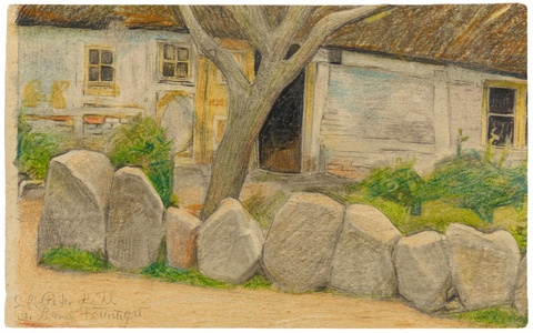 Lyonel Feininger - Village House with Tree and Boulders