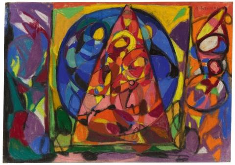 Adolf Hölzel - Komposition (Glasfensterentwurf) Dreieck und Kreis