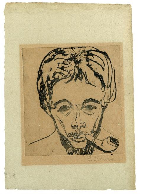 Ernst Ludwig Kirchner - Selbstbildnis mit Pfeife