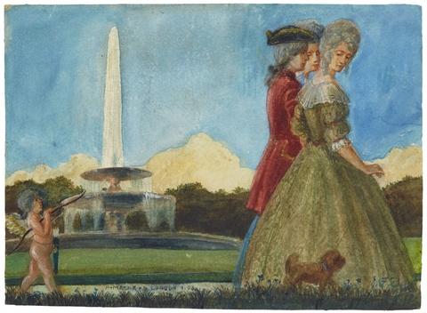 August Macke - Ein Herr mit zwei Damen und Hund im Park, gefolgt von Amor