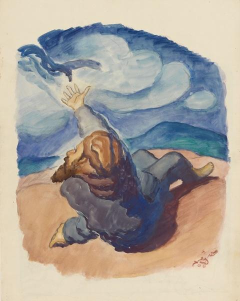 Ludwig Meidner - Figur in Landschaft. Verso: Figurengruppe in nächtlicher Landschaft