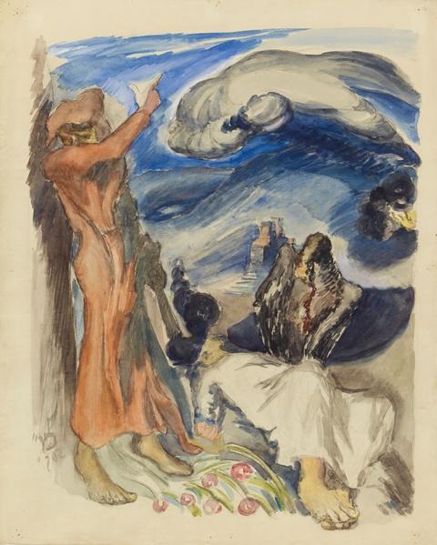 Ludwig Meidner - Allegorische Szene (Figuren in Landschaft)