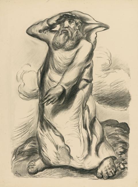 Ludwig Meidner - Figur in Landschaft, in die Ferne Blickender