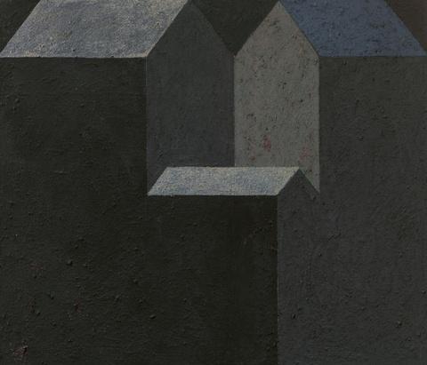 Horst Antes - 3 Häuser (ein Dach blau)