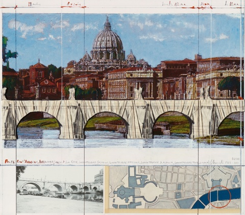 Christo - Ponte Sant'Angelo, Wrapped, Project for Rome