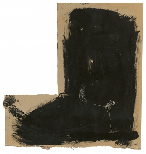 Antoni Tàpies - Black and Threads on Piece of Cardboard