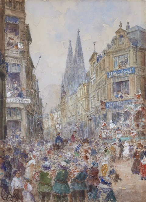 Carl Rüdell - Carnevale in the Streets of Cologne