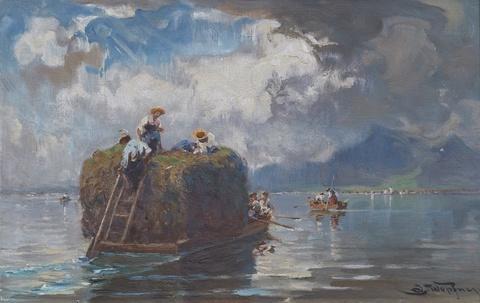 Joseph Wopfner - Hay Boat on Chiemsee