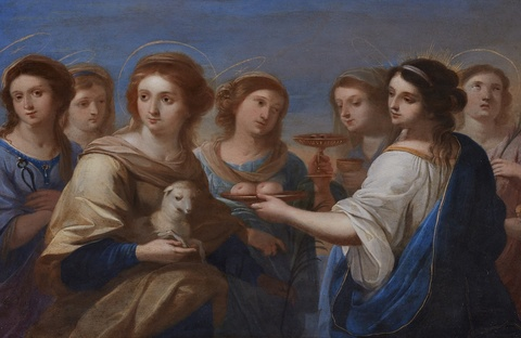 Angelika Kauffmann, in the manner of - Saint Agnes and Agatha Surrounded by Five Female Saints including Saints Lucy and Apollonia