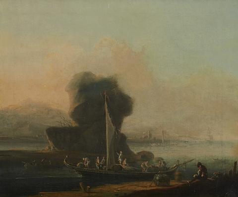 Johann Alexander Thiele - Flusslandschaft mit beladenen Boot am Ufer