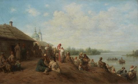 Wilhelm Amandus Beer - Landschaft an einem Fluss mit Dorf und Fährbooten