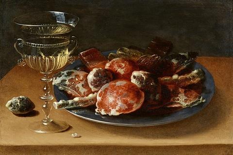 Ossias Beert - Stillleben mit einem Weinglas à la façon de Venise sowie einem Zinnteller mit kandierten Früchten