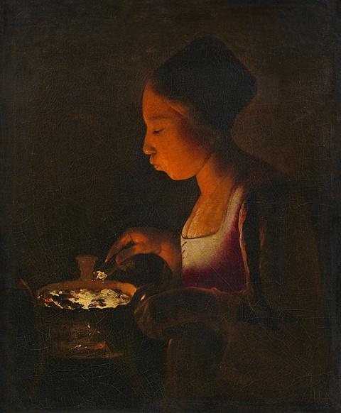 Georges de La Tour - Mädchen, in ein Kohlebecken blasend (La Fillette au braisier)