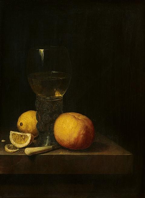Cornelis Kick - Stillleben mit Römerglas, Orange und Zitronen