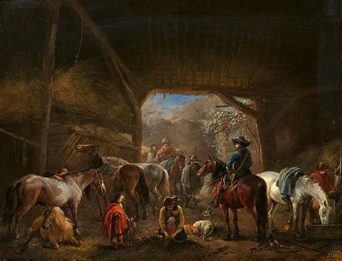 Philips Wouwerman - Pferdestall mit Reisenden
