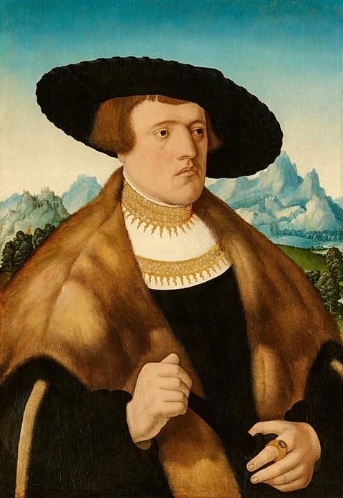 Conrad Faber von Kreuznach - Bildnis des Johann Raiss vor weiter Landschaft Bildnis der Anna Uffsteiner vor weiter Landschaft
