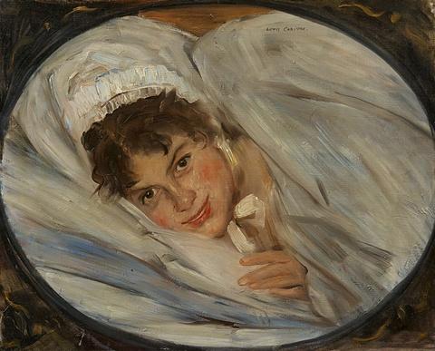 Lovis Corinth - Mädchenkopf im Kissen