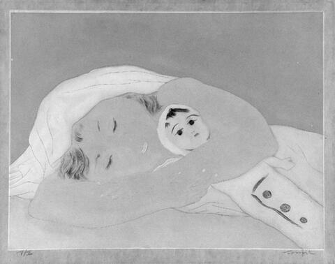 Léonard Tsuguharu Foujita - Schlafendes Kind mit Puppe