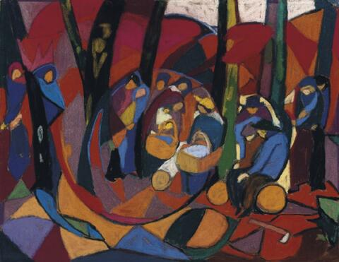 Adolf Hölzel - Komposition (Große Anbetung im Wald)