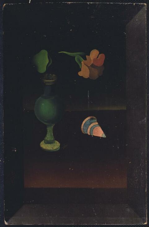 Heinrich Hoerle - Blumenstilleben mit Holzkreisel
