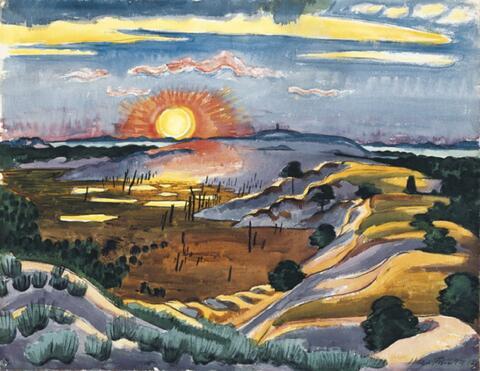 Hermann Max Pechstein - Sonnenuntergang in den Dünen