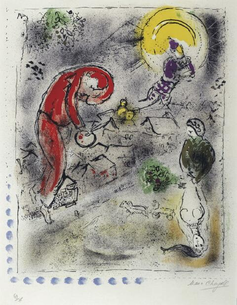 Marc Chagall - Die Dächer 1956
