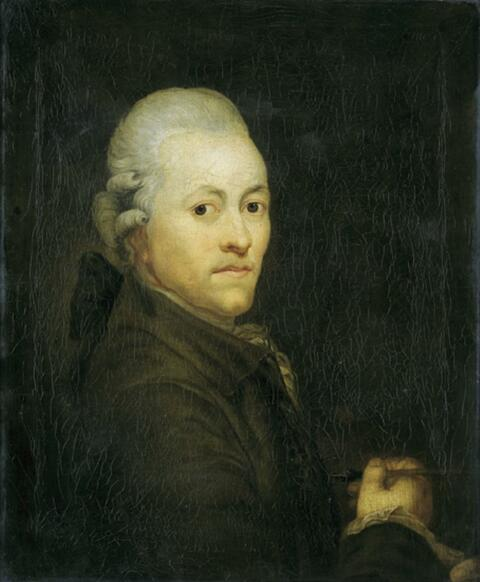 Anton Graff - SELBSTBILDNIS, in der rechten Hand den Pinsel haltend.