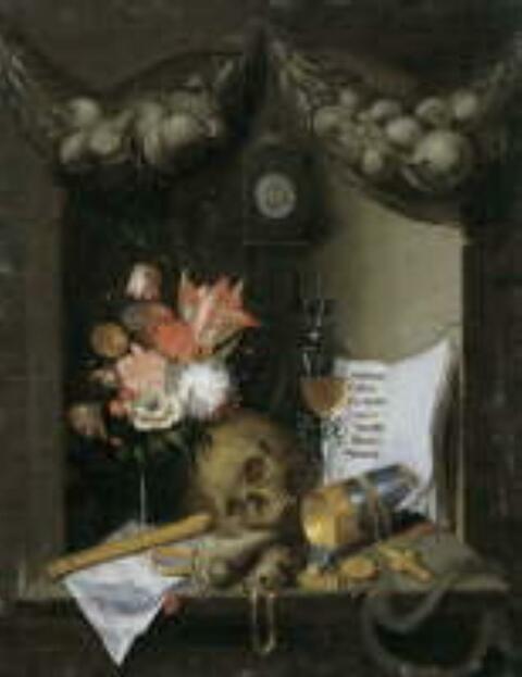 Süddeutscher Meister - VANITASSTILLEBEN mit Uhr, umgestürztem Becher, Blumen und Totenschädel.