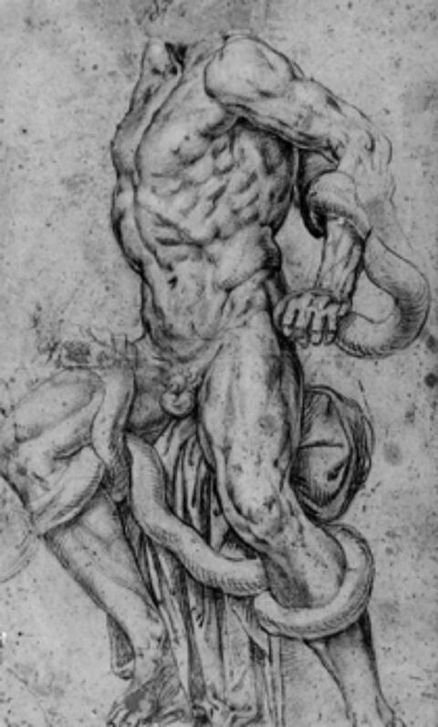 Römischer Meister - LAOKOON (verso Studie nach einer Statue der Caritas).