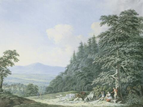 Johann Carl August Richter, zugeschrieben - BERGLANDSCHAFT MIT HIRTENSTAFFAGE.