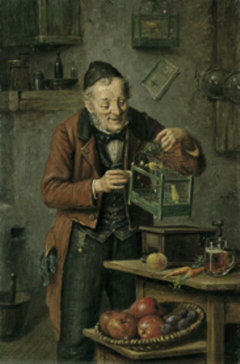 Hermann Kern - BEIM FÜTTERN DES KANARIENVOGELS.