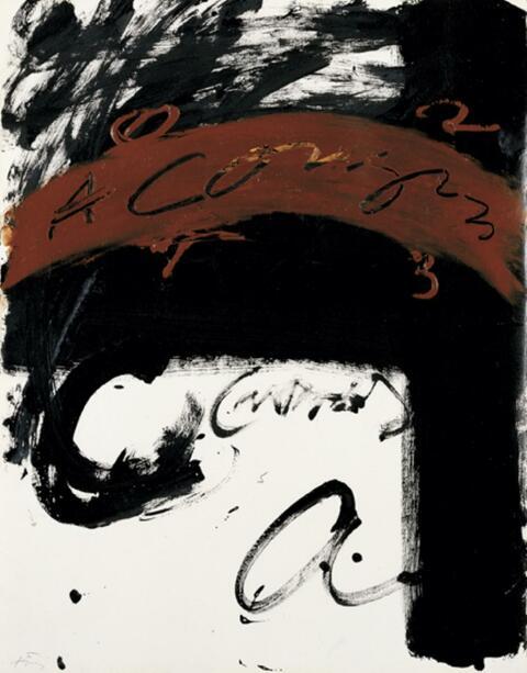 Antoni Tàpies - A Corazon - rouge et noir agité