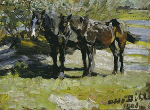 Otto Dill - Bauernpferde auf der Weide