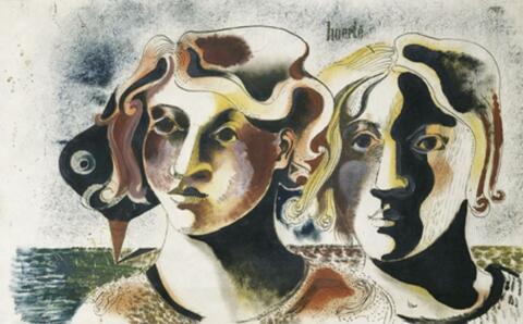 Heinrich Hoerle - Zwei Mädchenköpfe