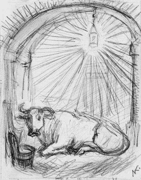 Alfred Kubin - Liegende Kuh unter Stallaterne