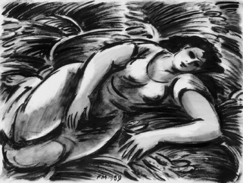 Frans Masereel - Repos dans les foins (Junge Frau auf dem Feld)