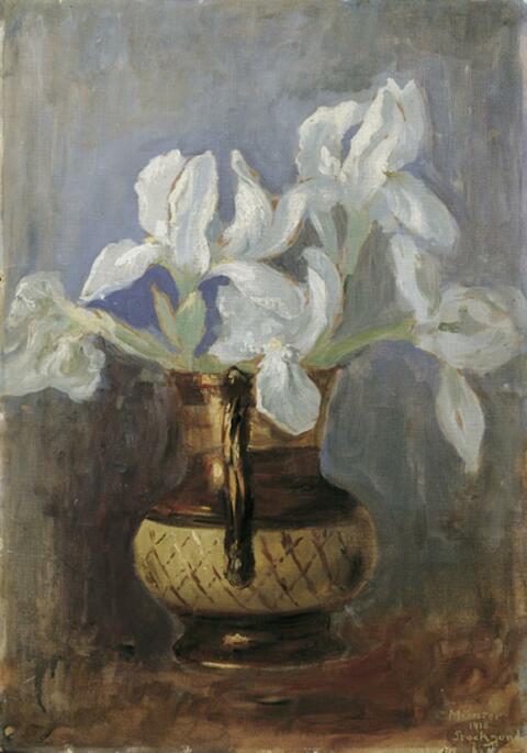 Gabriele Münter - Weiße Irisblüten in einer Vase