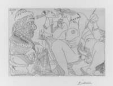 Pablo Picasso - Raphael et la Fornarina. XVI: Le Pape est toujours sur son pot, songeur