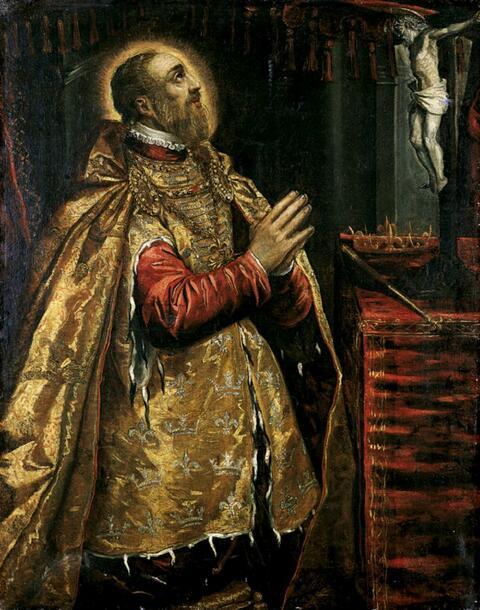 Domenico Tintoretto, Werkstatt - DER HL. LUDWIG VON FRANKREICH VOR DEM KRUZIFIX KNIEND.