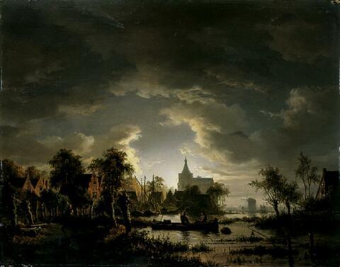 Jacobus Theodorus Abels - FLUSSLANDSCHAFT BEI MONDLICHT.