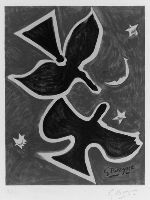 Nach Georges Braque - Deux Oiseaux sur fond bleu