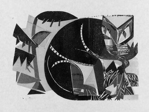 H.A.P Grieshaber - Katze und Vogel