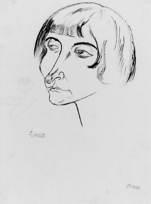 George Grosz - Frauenkopf